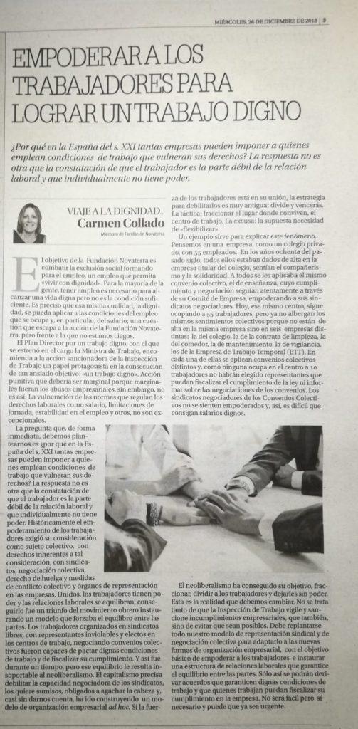 Empoderar a los trabajadores para lograr un trabajo digno: Carmen Collado