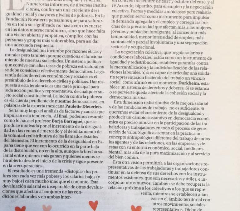 """Joan Sifre: """"Tiempos de desigualdad, tiempos de solidaridad activa"""""""
