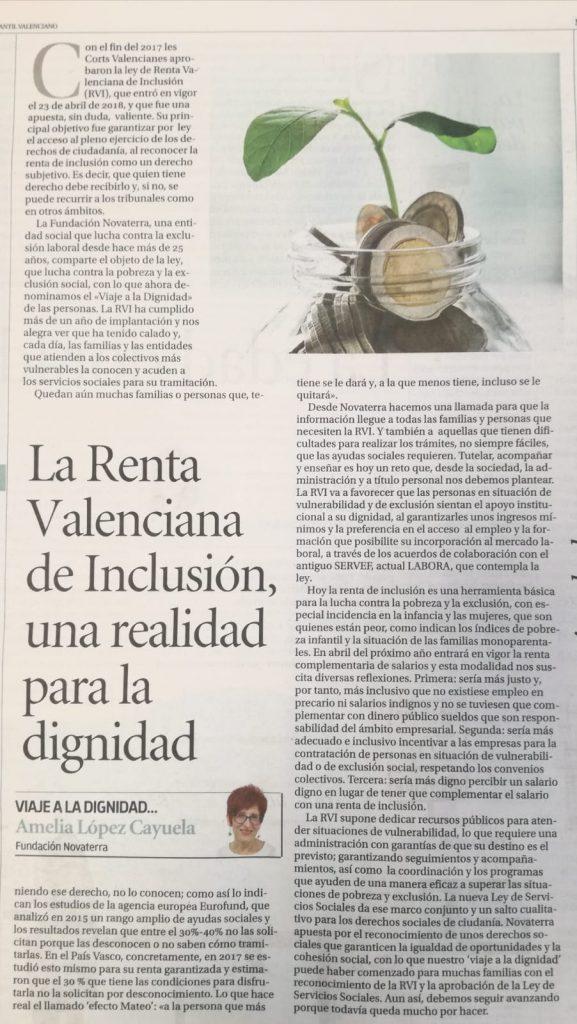 La Renta Valenciana de Inclusión 2017: una realidad para la dignidad. Amelia López