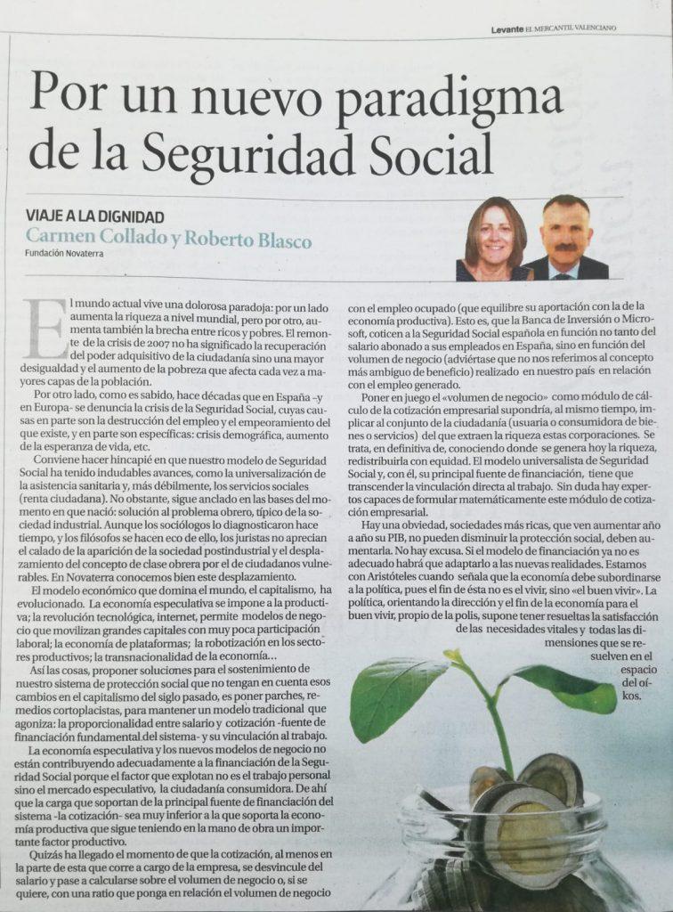 Por un nuevo paradigma de la Seguridad Social: C. Collado y R. Blasco