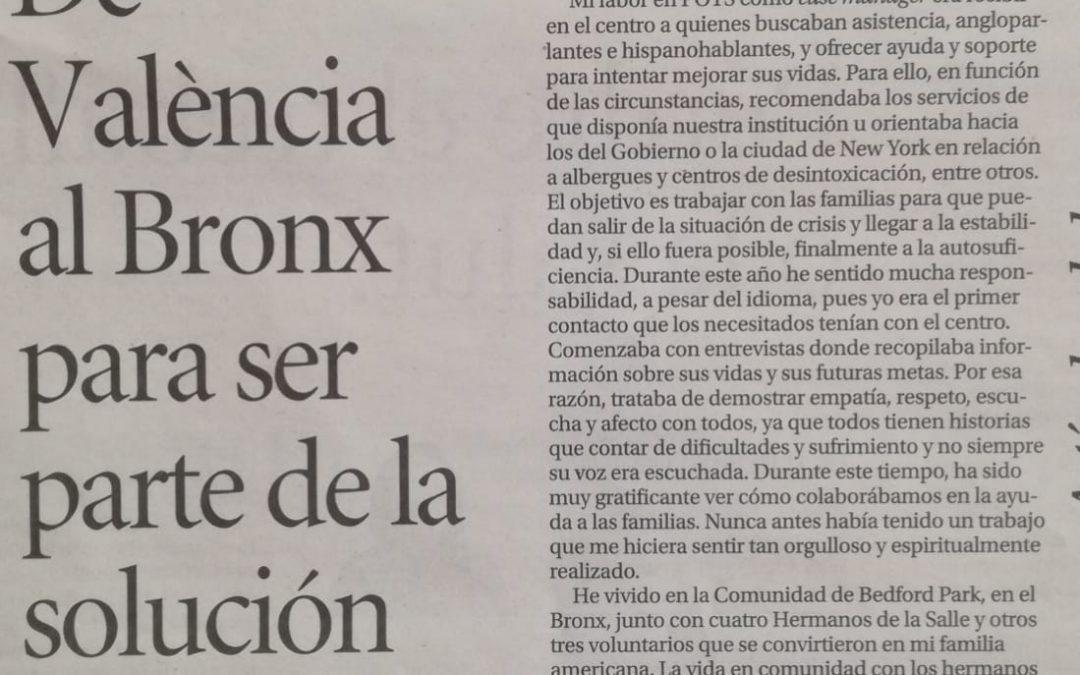 """Daniel Miquel: """"De València al Bronx para ser parte de la solución"""""""
