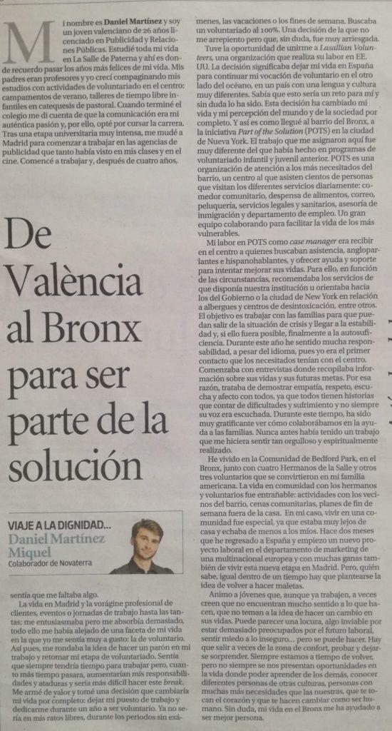 """Voluntariado juvenil. Un caso práctico. Daniel Miquel: """"De València al Bronx para ser parte de la solución"""""""