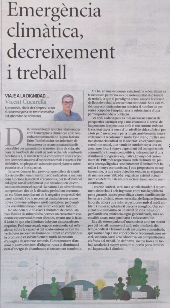 """Vicent Cucarella: """"Emergència climàtica, decreixement i treball"""""""