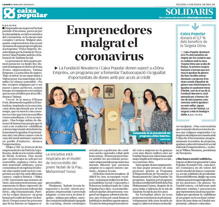 Cuatro emprendedoras inician sus proyectos en plena crisis del coronavirus gracias a la alianza entre Novaterra y Caixa Popular