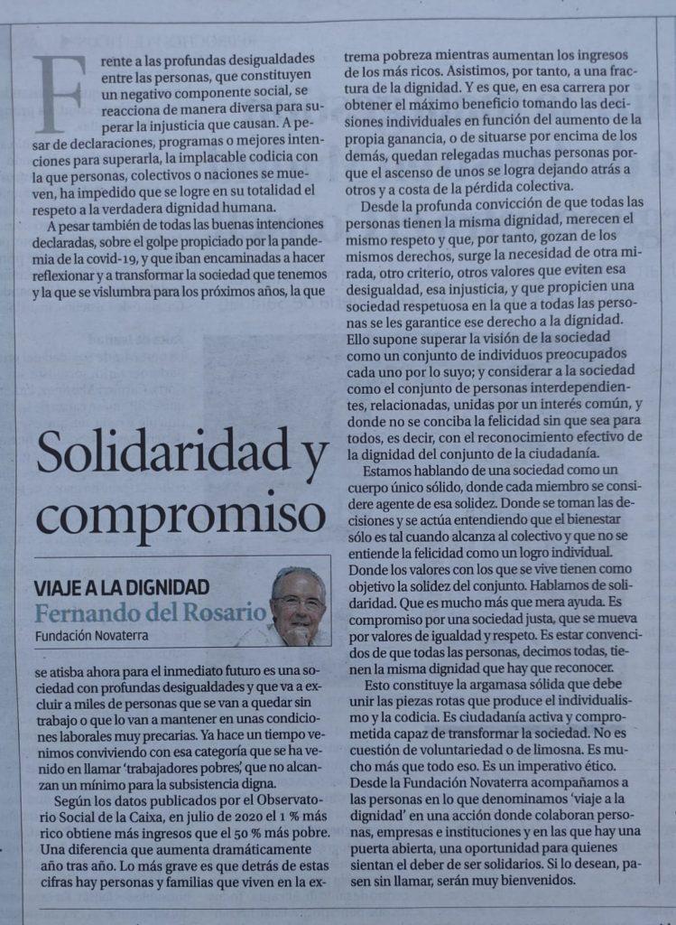 """Fernando del Rosario: """"Solidaridad y compromiso"""""""