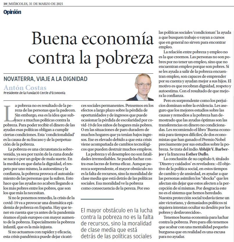 """Antón Costas: """"Buena economía contra la pobreza"""""""