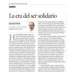 """Andrés Perello: """"La era del ser solidario"""" en Levante EMV"""