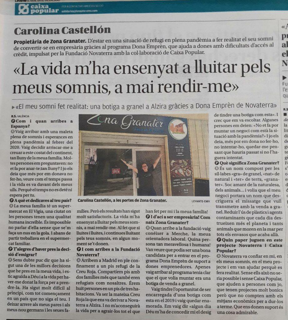 Tienda a granel en Alzira gracias a Dona Emprèn de Novaterra y Caixa Popular