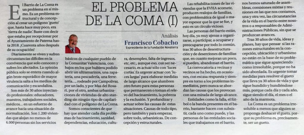 El problema de La Coma, Francisco Cobacho